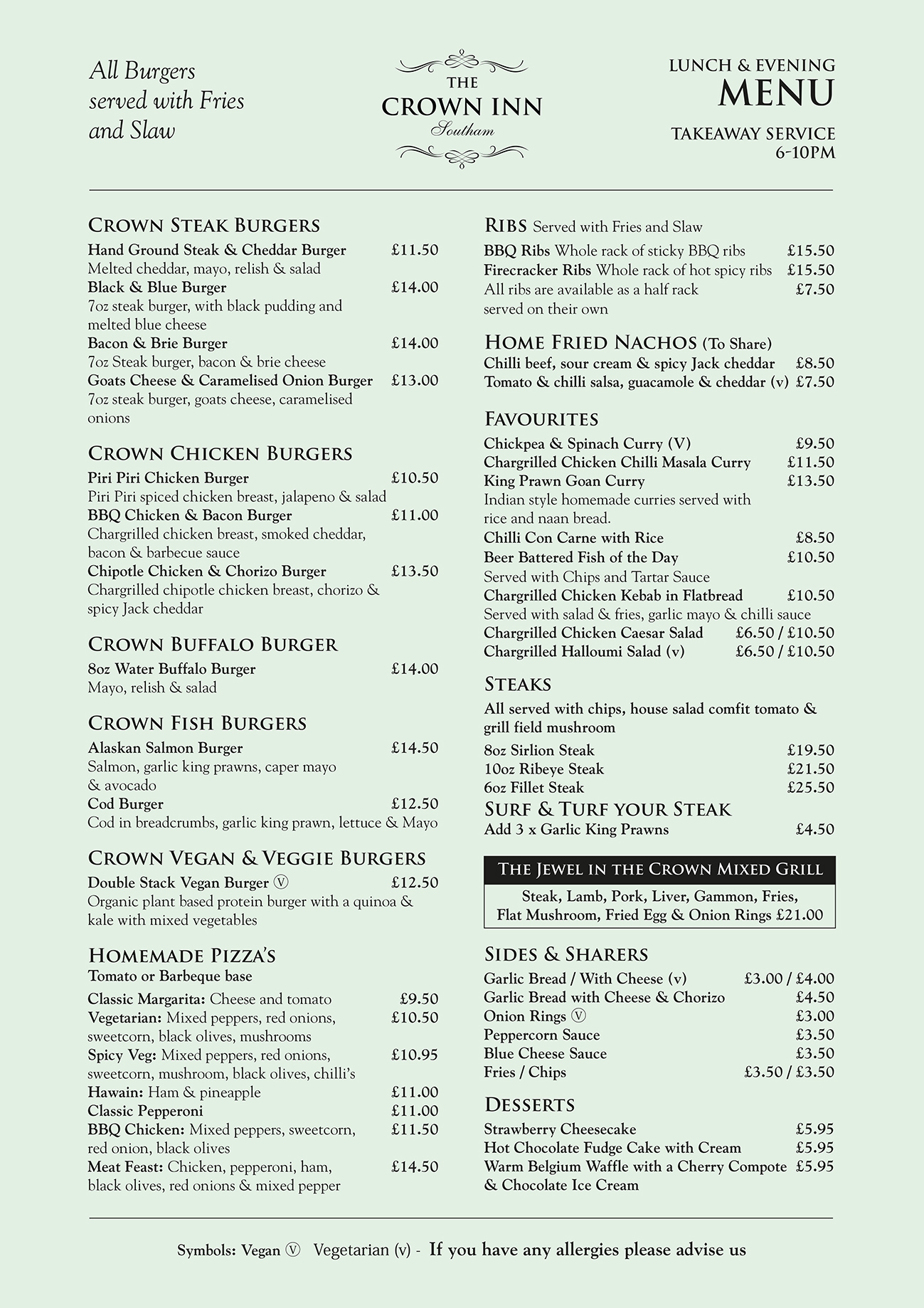 The Crown Inn Southam Lunch and Evening Menu